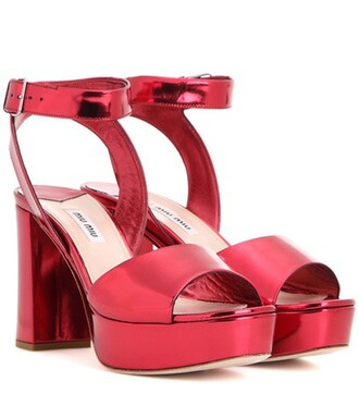 metallic sandals platform sandals leather red shoes