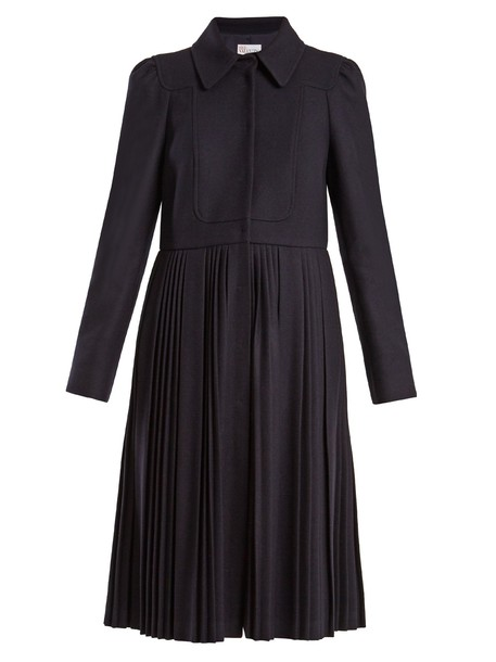 coat pleated wool dark blue dark blue