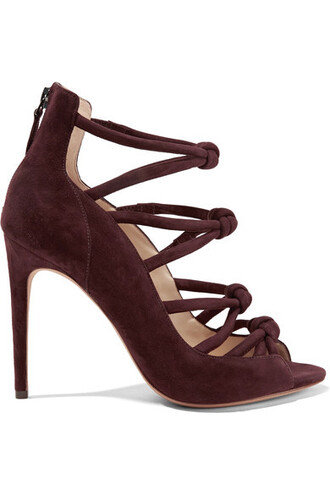 sandals suede burgundy shoes