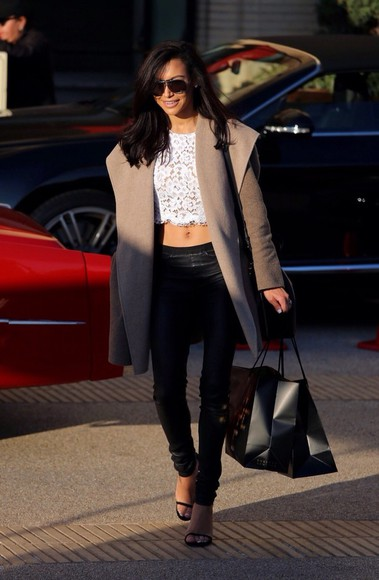 naya rivera coat fashion beige