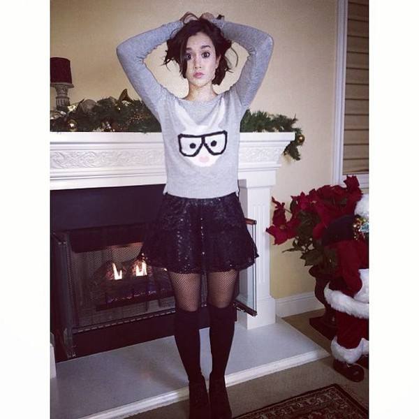 megan nicole bunny skirt black skirt cute sweater