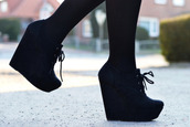shoes,boots,high heels,wedges,black,shoes black wedges,cute,black wedges,tie up,black shoes,black high heels,black heels,heels,booties,booties with laces,booties shoes
