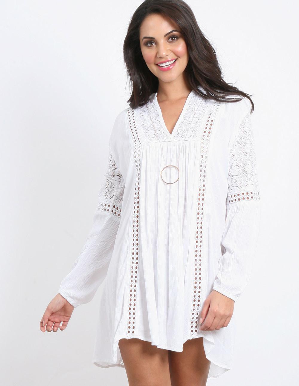 Blue Vanilla BILLIE - Ladder Trim Tunic Dress in white