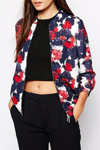 jacket zaful floral fall outfits crop tops crop cropped swag dope hipster style stylish zip tumblr college weheartit cool streetstyle