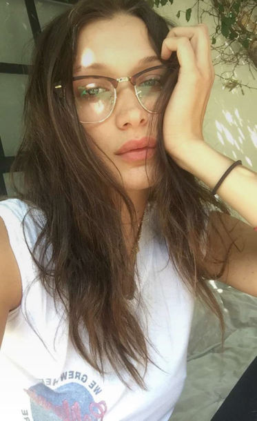 sunglasses glasses bella hadid model off-duty top t-shirt snapchat