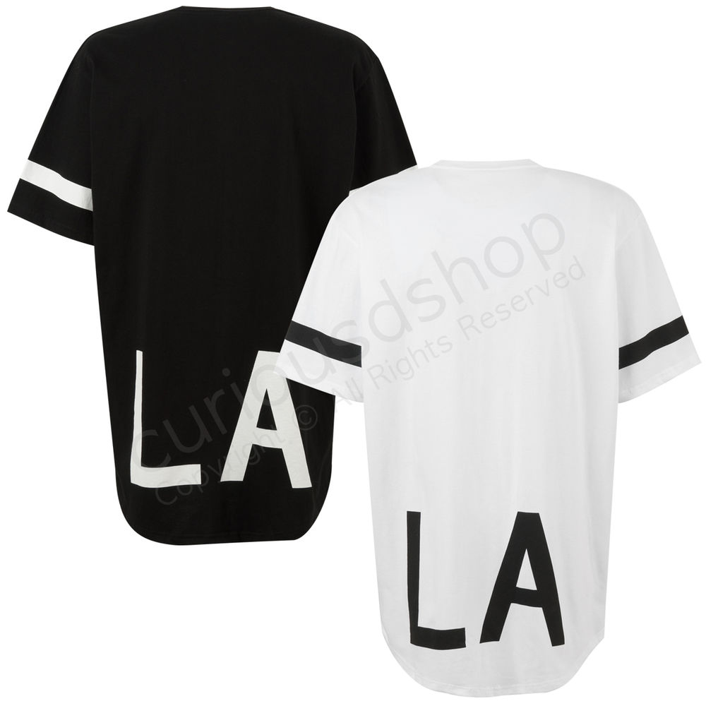 New Elongated LA Print Graphic Striped Short Sleeve T-shirt Tee White Black