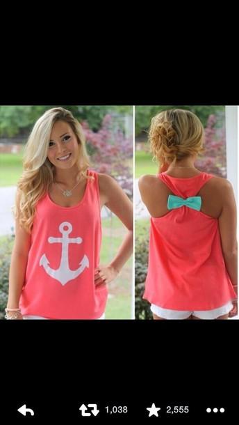 pink anchor shirt top nail accessories pink skirt tank top blue bow anchor shirt blue bow