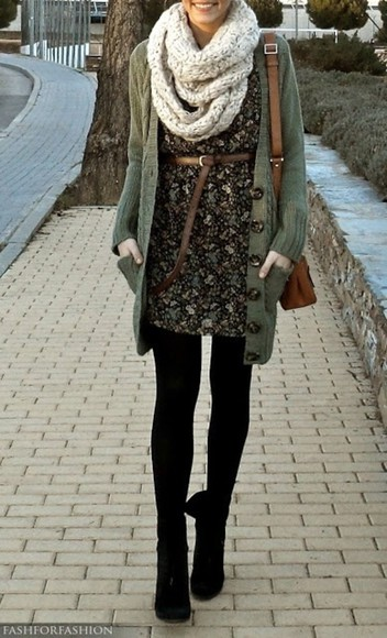 infinity scarf dress sweater belt green boots bag purse tights floral brown black infinity scarf