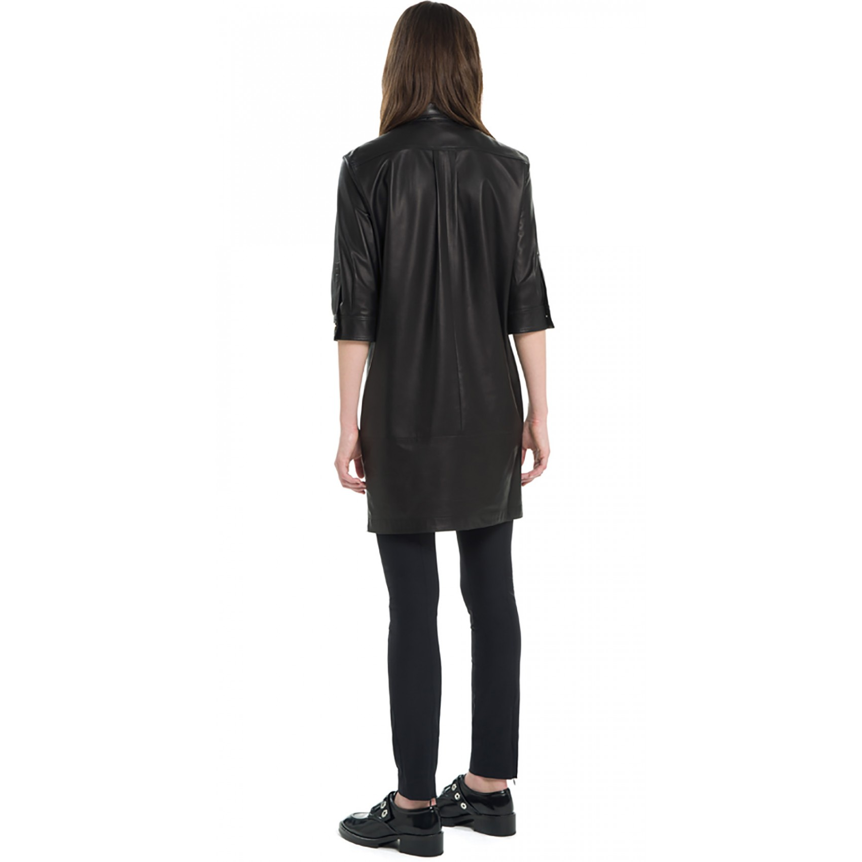 Sandro Rise Leather Shirt Dress at Sandro US