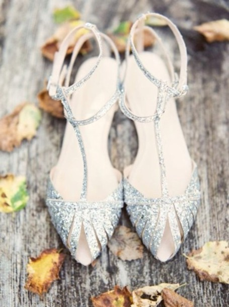 shoes, silver, sparkle, glitter, t-strap, heels, wedding, wedding ...