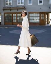 sweater,turtleneck,white turtleneck top,midi skirt,white skirt,pumps,high heel pumps,handbag
