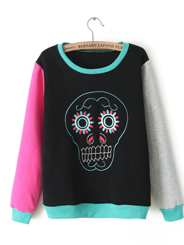 Long Sleeve Skull Straight Round Neck Street Common Sweatshirt  : KissChic.com