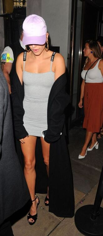 dress cap london fashion week 2017 mini dress grey grey dress sandals coat model off-duty hailey baldwin