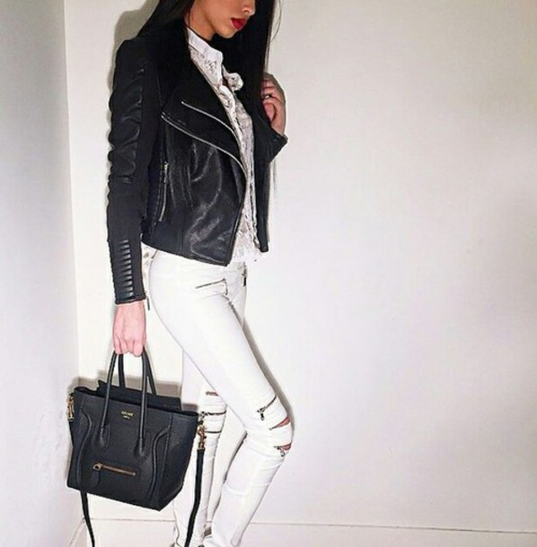celine handbags online - Jeans: white zipper jeans, celine bag, leather jacket, white jeans ...