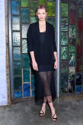 shoes,sandals,see through,see through dress,lace dress,karlie kloss,model off-duty,all black everything,midi dress