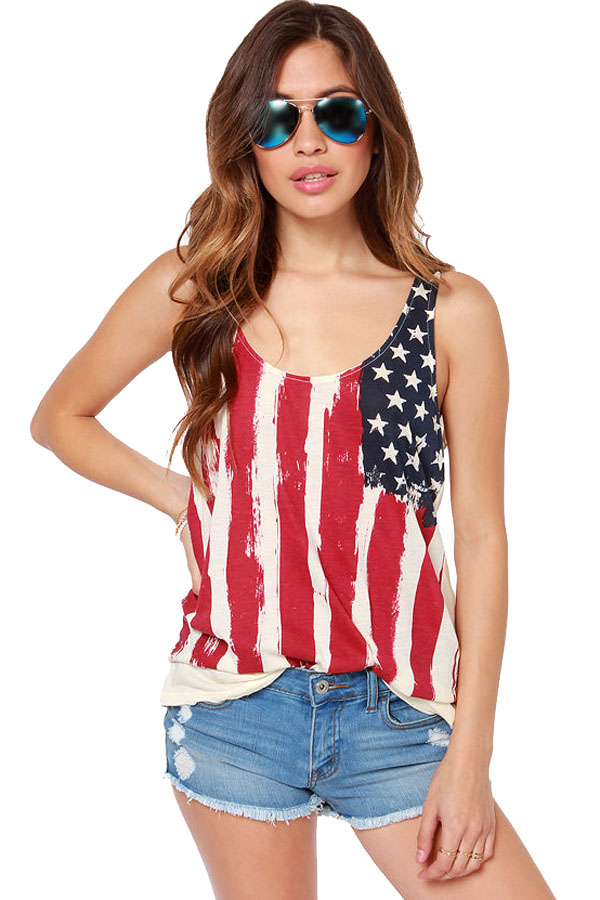 Red White American Flag Ruched Back Tank