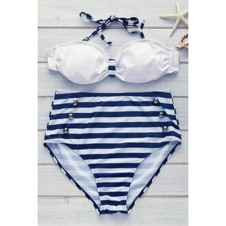 swimwear bikini blue white stripes summer beach high waisted trendsgal.com