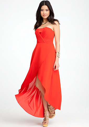 Overlapped high low dress