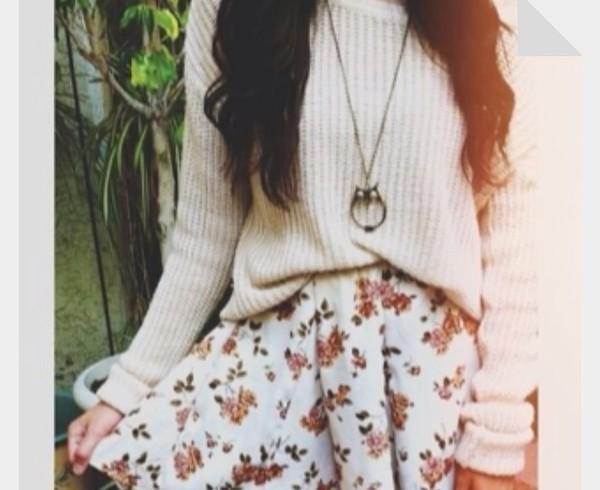 sweater cream jumper skirt