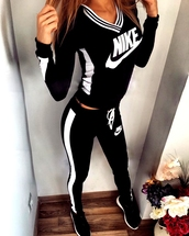 jumpsuit,nike,nike sportswear,tracksuit,joggers,pants,leggings,workout,nike jacket,sportswear,black,sweater,jumper,tights,sweatpants,white,black and white,outfit