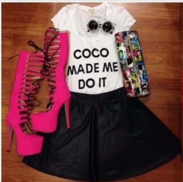 shirt high heels glasses purse sunglasses skirt