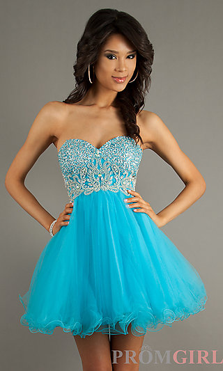 Strapless Baby Doll Dresses, Alyce Beaded Short Dress- PromGirl