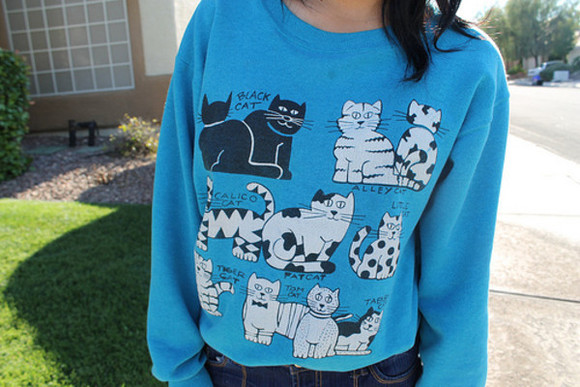 cats blue sweater shirt cat shirt cat sweater cat sweatshirt sweater