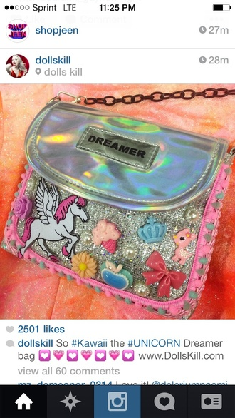 bag purse silver dollskill unicorn