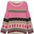 Pink Batwing Sleeve Striped Geometric Pattern Tribal Sweater - Sheinside.com