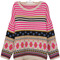Pink batwing sleeve striped geometric pattern tribal sweater - sheinside.com
