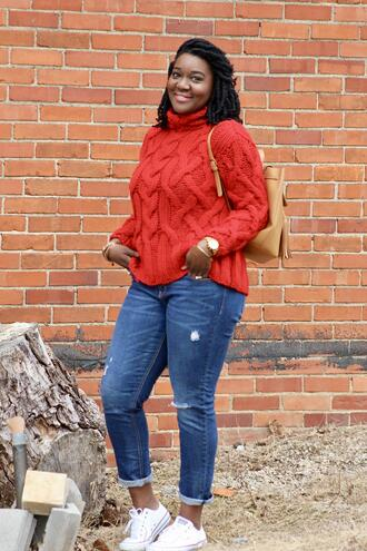 c's evolution of style - a fashion + lifestyle blog by chioma brown blogger jeans sweater red sweater turtleneck sweater knitted sweater sneakers