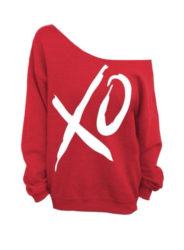 Sweater: red, off the shoulder sweater, cute, comfy - Wheretoget
