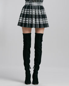 Alice   Olivia Fizer Box-Pleated Plaid Skirt