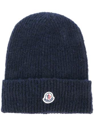 women classic hat beanie knitted beanie blue wool