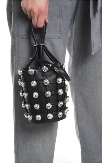 mini embellished bag bucket bag leather