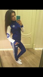jumpsuit,adidas,blue,adidas originals,jumper,pants,tracksuit