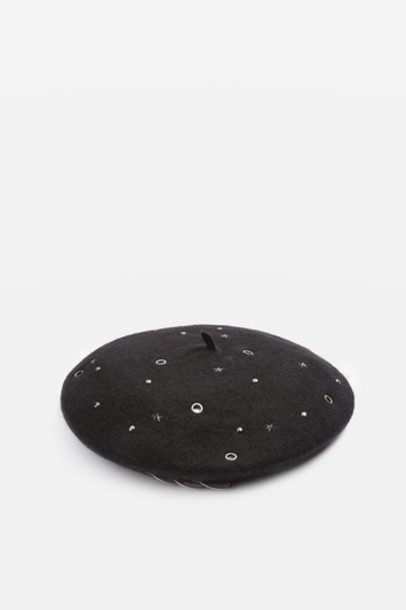 studded beret black hat