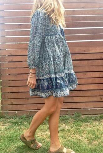 dress blue dress boho shirt boho dress blonde hair