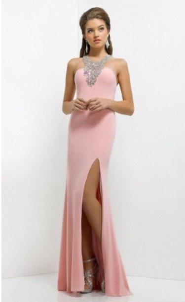 dress pink dress prom dress girl