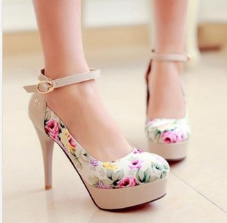 shoes floral high heels high heels pumps floral