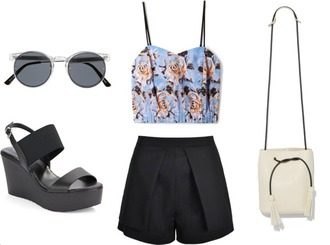 lana jayne blogger bucket bag floral bustier wedge sandals black shorts