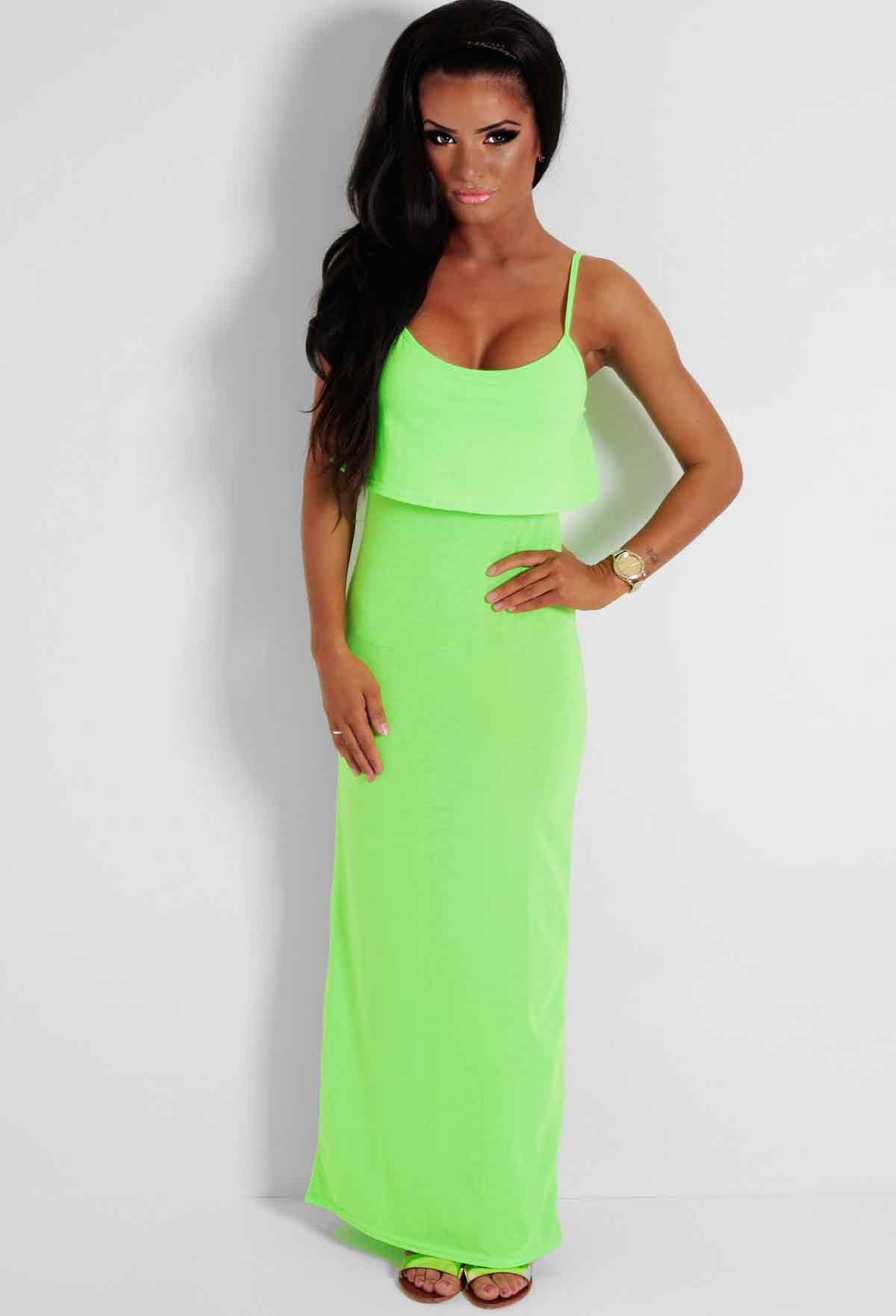 Appletini Neon Green Layered Maxi Dress | Pink Boutique