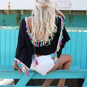 top,tumblr,black top,open back,backless,backless top,tassel,shorts,denim,denim shorts,white shorts