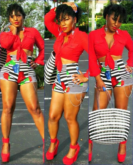 red jacket shorts red heels high waisted short