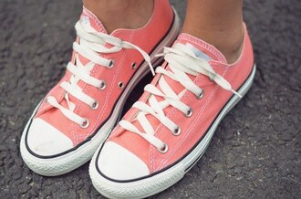 shoes converse coral trainers all stars pink orange shoes summer summer shoes white
