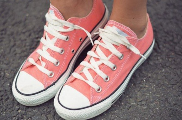 orange shoes shoes all stars pink summer summer shoes white coral converse trainers pink , all stars