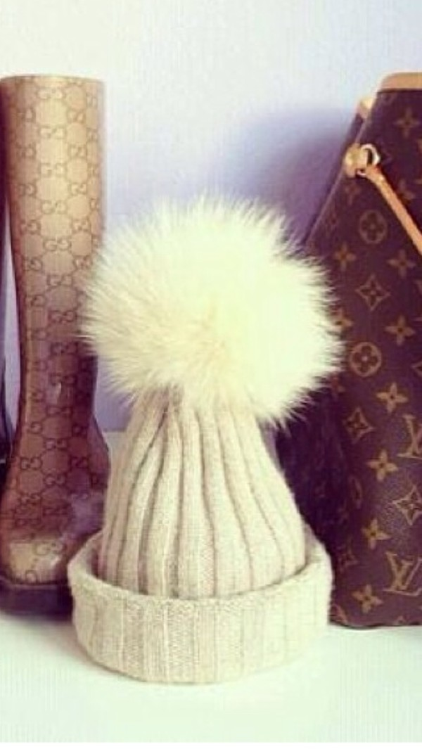 cream and knitted fur bobble bobble hat huge bobble hat fur hat hat