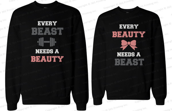 matching couple sweatshirts matching sweatshirts beauty needs a beast beast needs a beauty couple sweaters couple sweaters matching couples couple his and hers sweatshirts matching couples his and hers gifts workout clothing for couples matching sweatshirts for couples beauty and the beast matching couple sweatshirts newlyweds gift
