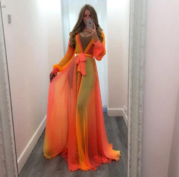 5f6324afe6 dress cover up beach beach summer chiffon dress cute holidays maxi style  fashion red orange cute