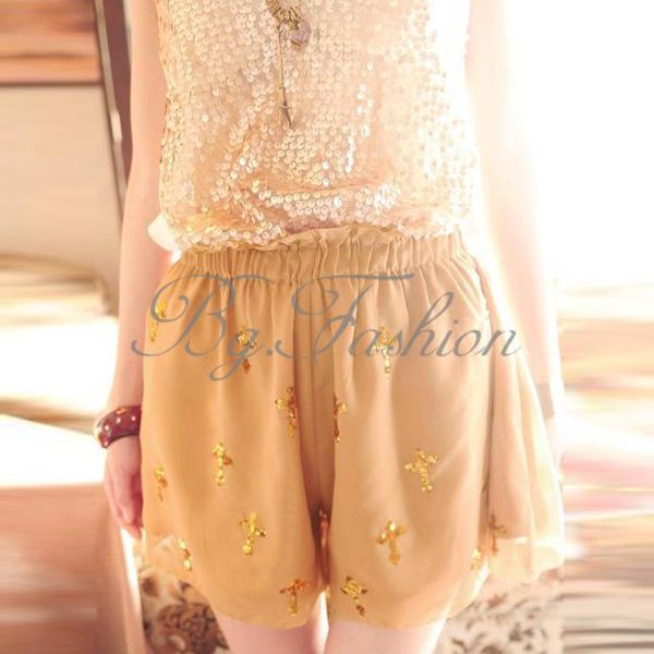 2 Colors Shiny Sequins Cross Pattern Chiffon Skirt Divided Culottes Pants Shorts   eBay